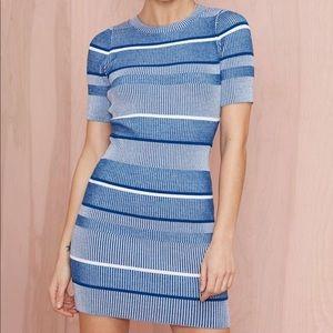 Nasty Gal Ribbed Bodycon Striped Mini Dress